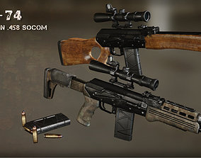 AK-74 458 SOCOM - Two variants 3D model