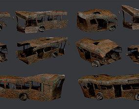 3 Apocalyptic Damaged Destroyed Vehicle Bus 3D asset 2