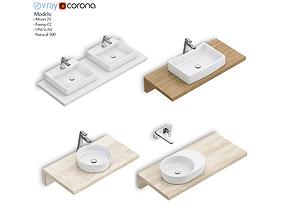Set of washbasins RAVAK set 59 3D
