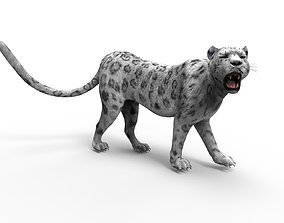 3D Snow leopard Rigged Model rigged