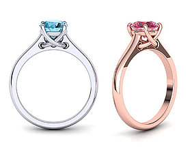 Four Prong Crossover Solitaire Engagement ring