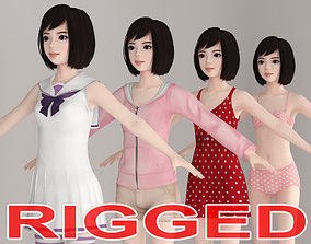3D T pose rigged model of Harumi with various outfit