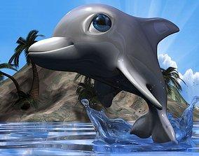 Cartoon Dolphin RIGGED 3D model