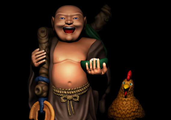 Buddha and faithful companion Chicken