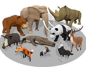 Low Poly Animals Africa Cartoon Collection - 3D asset 1