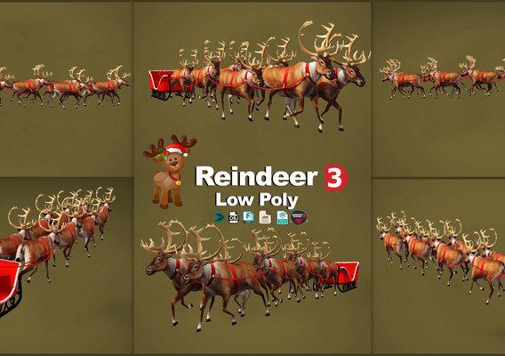 Reindeer Christmas 3D models low poly