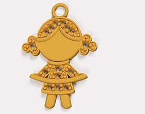 Pendant the Girl 3D print model pendant