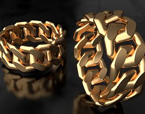 Miami Cuban Link Chain Ring 10mm wide 3D print 1
