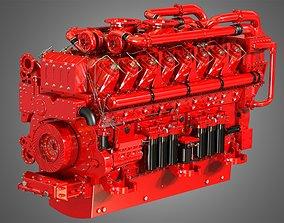 3D model QSK95 16 Cylinders Engine - Marine Turbocharged 1