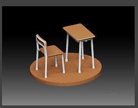3D print model SCHOOL CLASSROOM DESK CHAIR SET FOR 2