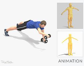 pushup forward raise Exercise Man Animation 3D model