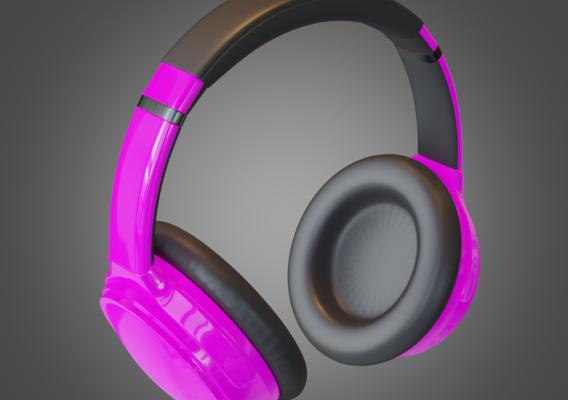 Headphone Purple Lowpoly Pbr Subdivision Ready