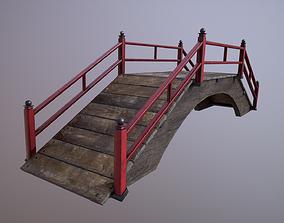 Oriental wooden bridge 3D asset