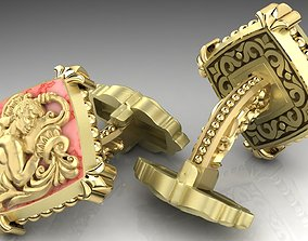 3D print model Zodiac signs Cufflinks Aquarius
