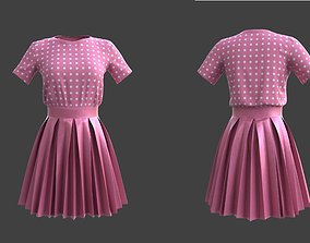 pleated dress -skirt and top 3D