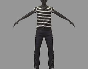 avatar casual set black line polo grey pants 3D asset