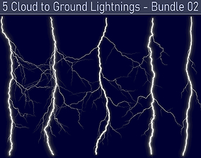 3D model Realistic Lightnings Bundle 02 - 5 pack CG