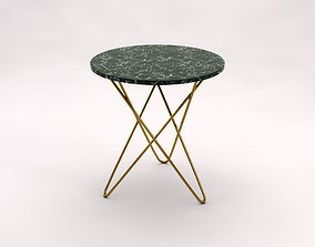 SIDE TABLE---Marble tray and brass crossed rods 3D model