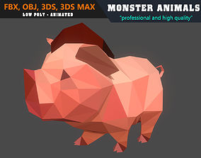 Low PolyPig Cartoon 3D Model Animated - Game animated
