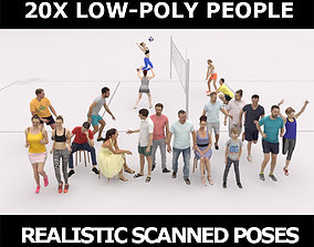 3D asset 20x LOW POLY SPORT SPORTS SUMMER PEOPLE