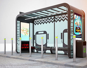 Bus Shelter 3D model broadway