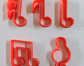 Musical notes cookie cutters Set 3D print model