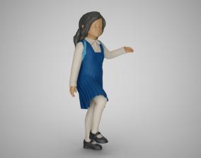3D print model Little School Girl Climbing Steps