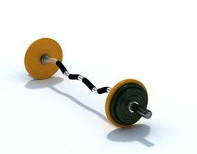 3D Gym Equipment Barbell With Weights