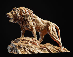 Lion Sculpture 3d print model PBR