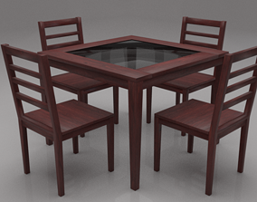 Disa Solid Wood Four Seater Dining Set 3D asset
