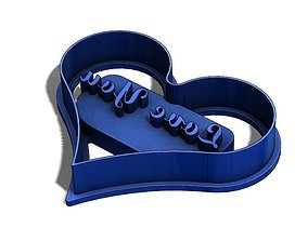 Cookie cutter heart shaped Love You 3D print model