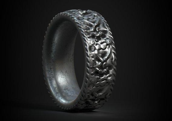 silver ring jewelry model PBR