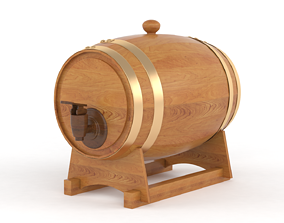 Oak Wine Barrel 3D model barrel