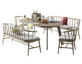 3D model West Elm Dexter Dining Set