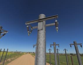 Steel power pole without ladder - Objekt 063 3D asset