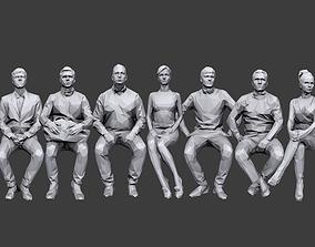 Lowpoly People Sitting Pack Volume 3 3D model