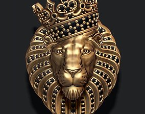 Lion pendant with diamonds and crown 3D print model