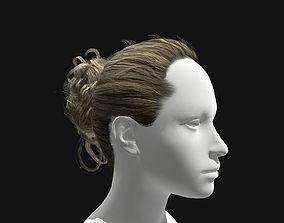 Female Curly Bun Hairstyles 3D asset