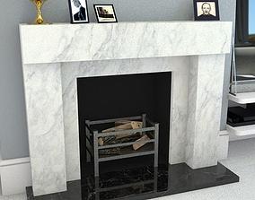 3D asset marble fireplace