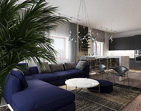 3D model Livingroom kitchen and hall scene