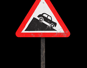 3D asset Steep descent Roadsign