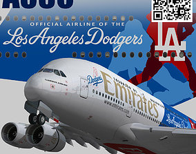 Airbus A380-8 Emirates los angeles dodgers A6-EON 3D model