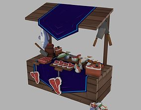 3D asset game-ready Market stand