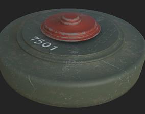VR / AR ready Realistic Military Landmine - Low Poly 3D