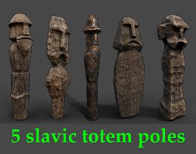 Carved Slavic Wooden Medieval Settlement Totem Statue 3D 1
