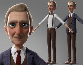 Cartoon Old Man No Rig 3D