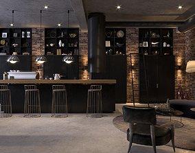 3D model Interior Scene - Cafe Lounge