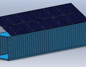 Solar Panels on 40 Foot Container 3D