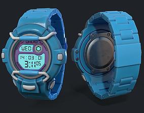 lowpoly digital watch PBR 3D asset