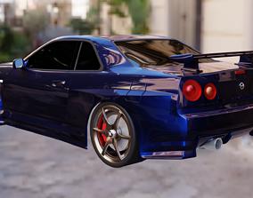 3D model Nissan Skyline GTR R34 Red and Blue
